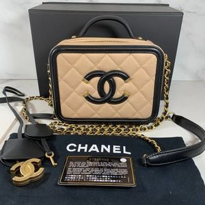 CHANEL Caviar Quilted Small CC Filigree Vanity Case box crossbody bag Beige